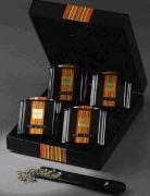 Набор 4 Цвета чая, коробка темное дерево (Чай в подарочной упаковке: 2 банки по 50 гр., 2 банки по 25 гр.).