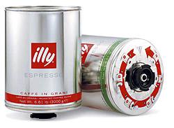 Кофе ILLY (illi - illycaffe) Илли в зернах сильной обжарки 3 кг (мет. банка).