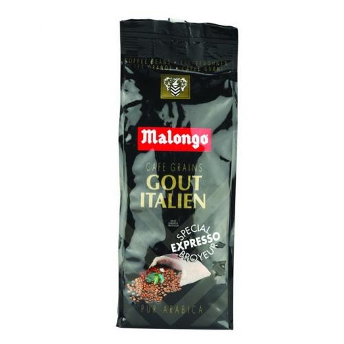 Кофе Malongo Итальянский вкус в зернах 0,25 кг.
