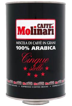 Кофе MOLINARI CINQUE STELLE 100% ARABICA (Пять звезд) в зернах 3 кг.