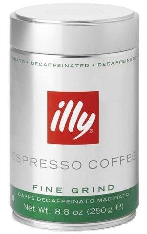 Кофе ILLY Илли DeCaffeinated без коффеина молотый 250 г мет. банка