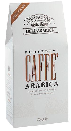 Кофе Compagnia Dell` Arabica Purissimi Arabica молотый (100% арабика) 0,25 кг.