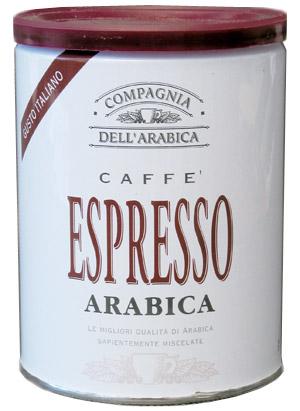 Кофе Compagnia Dell` Arabica Purissimi Espresso Arabica молотый (100% арабика) 0,25кг (банка).