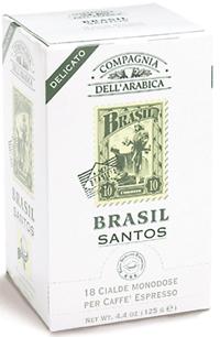 Compagnia Dell Arabica Brasil Santos, чалды 18 шт. х 7 г., 125 г., коробка.