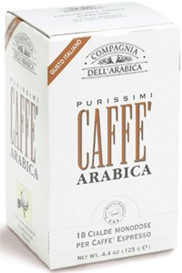 Compagnia Dell Arabica Purissimi Arabica, чалды 18 шт. х 7 г., 125 г., коробка.